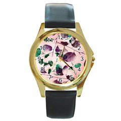 Spiral Eucalyptus Leaves Round Gold Metal Watch