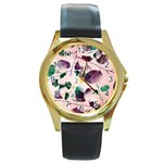 Spiral Eucalyptus Leaves Round Gold Metal Watch Front