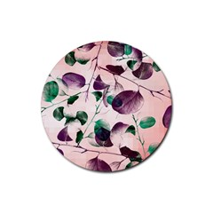 Spiral Eucalyptus Leaves Rubber Coaster (Round)