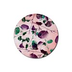 Spiral Eucalyptus Leaves Rubber Coaster (Round)  Front