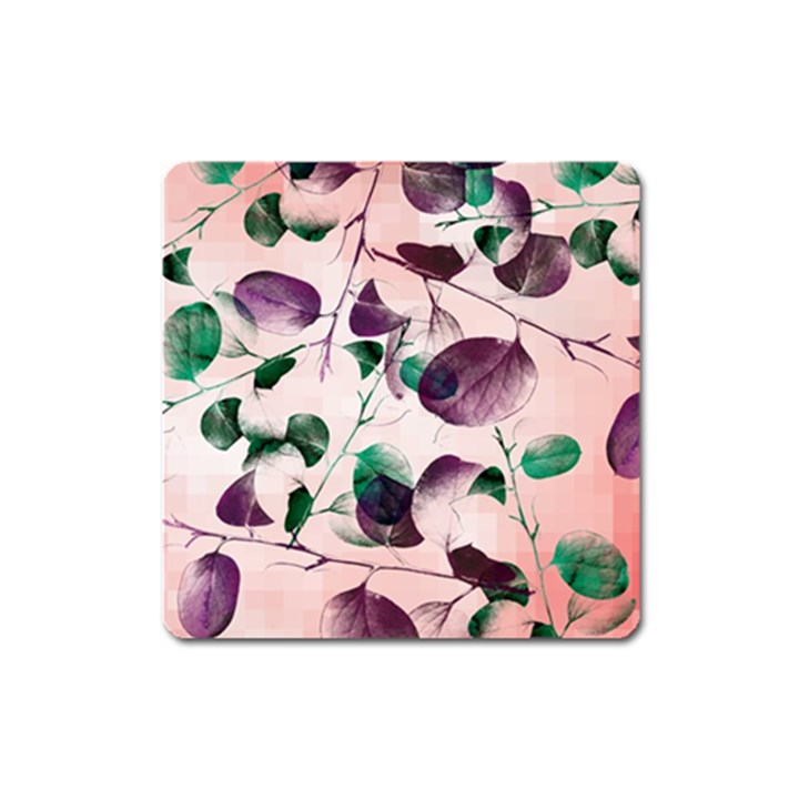 Spiral Eucalyptus Leaves Square Magnet