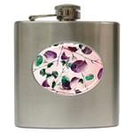 Spiral Eucalyptus Leaves Hip Flask (6 oz) Front