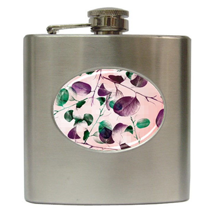 Spiral Eucalyptus Leaves Hip Flask (6 oz)