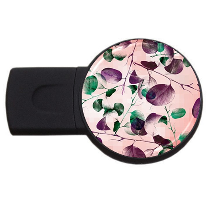 Spiral Eucalyptus Leaves USB Flash Drive Round (1 GB)