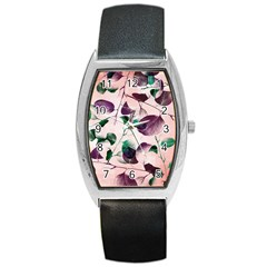 Spiral Eucalyptus Leaves Barrel Style Metal Watch