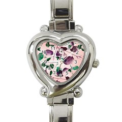 Spiral Eucalyptus Leaves Heart Italian Charm Watch