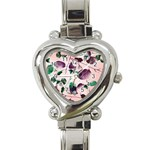 Spiral Eucalyptus Leaves Heart Italian Charm Watch Front