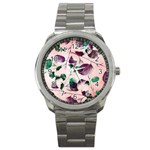 Spiral Eucalyptus Leaves Sport Metal Watch Front