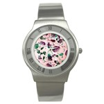 Spiral Eucalyptus Leaves Stainless Steel Watch Front