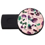 Spiral Eucalyptus Leaves USB Flash Drive Round (4 GB)  Front