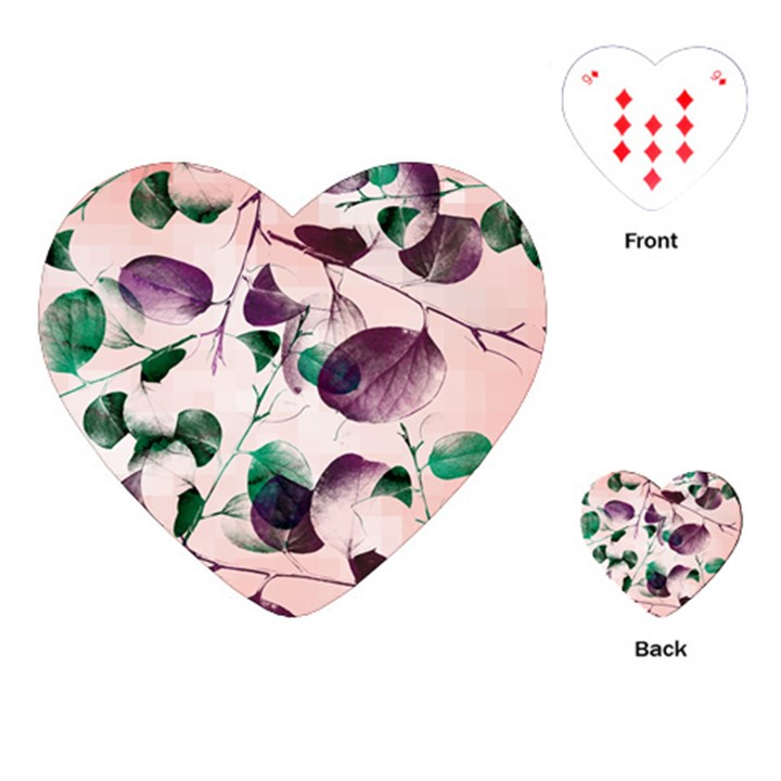 Spiral Eucalyptus Leaves Playing Cards (Heart)