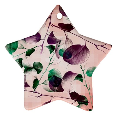 Spiral Eucalyptus Leaves Star Ornament (Two Sides)