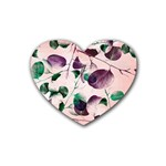 Spiral Eucalyptus Leaves Rubber Coaster (Heart)  Front