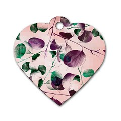 Spiral Eucalyptus Leaves Dog Tag Heart (One Side)