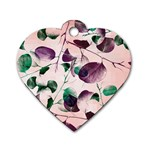 Spiral Eucalyptus Leaves Dog Tag Heart (One Side) Front