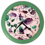 Spiral Eucalyptus Leaves Color Wall Clocks Front