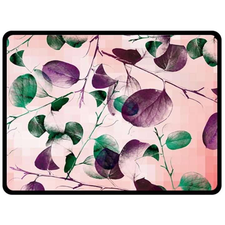 Spiral Eucalyptus Leaves Fleece Blanket (Large)