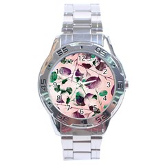 Spiral Eucalyptus Leaves Stainless Steel Analogue Watch