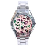 Spiral Eucalyptus Leaves Stainless Steel Analogue Watch Front
