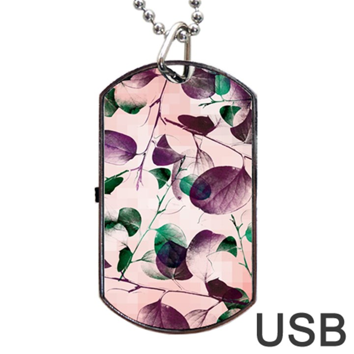 Spiral Eucalyptus Leaves Dog Tag USB Flash (Two Sides)