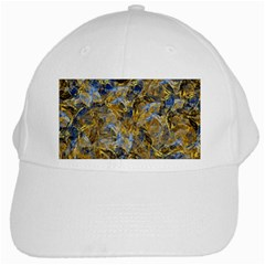 Antique Anciently Gold Blue Vintage Design White Cap