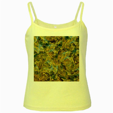 Antique Anciently Gold Blue Vintage Design Yellow Spaghetti Tank