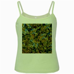 Antique Anciently Gold Blue Vintage Design Green Spaghetti Tank