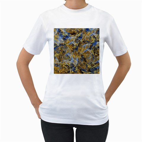 Antique Anciently Gold Blue Vintage Design Women s T-Shirt (White) (Two Sided)