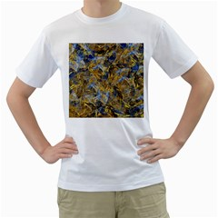 Antique Anciently Gold Blue Vintage Design Men s T Shirt (white) (two Sided)