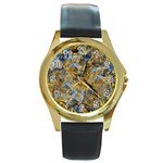 Antique Anciently Gold Blue Vintage Design Round Gold Metal Watch Front