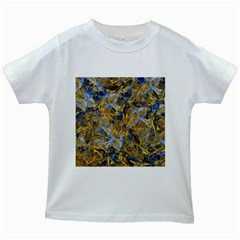 Antique Anciently Gold Blue Vintage Design Kids White T Shirts