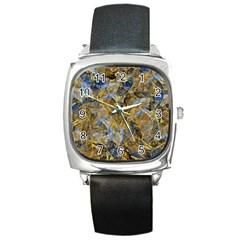 Antique Anciently Gold Blue Vintage Design Square Metal Watch