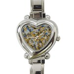 Antique Anciently Gold Blue Vintage Design Heart Italian Charm Watch Front