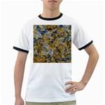 Antique Anciently Gold Blue Vintage Design Ringer T-Shirts Front