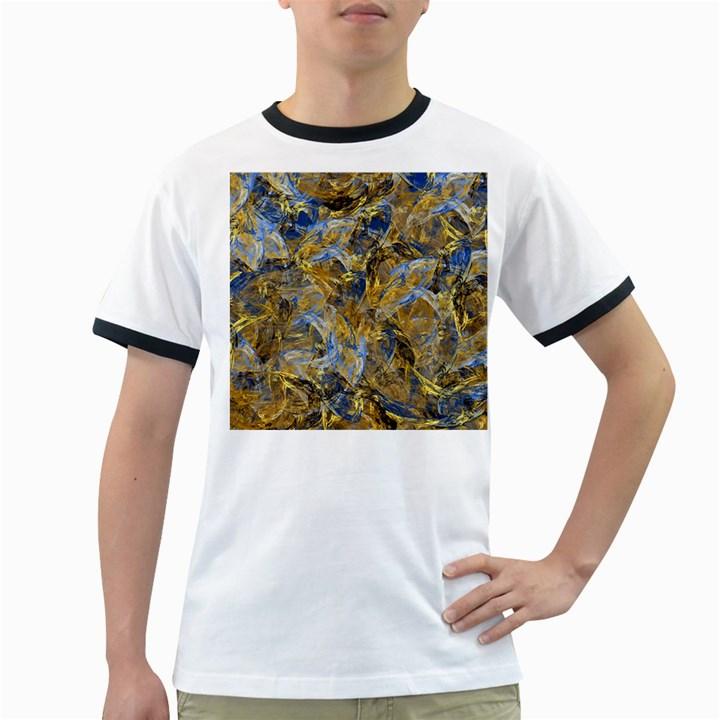 Antique Anciently Gold Blue Vintage Design Ringer T-Shirts