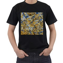 Antique Anciently Gold Blue Vintage Design Men s T-Shirt (Black) (Two Sided)