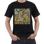 Antique Anciently Gold Blue Vintage Design Men s T-Shirt (Black) (Two Sided) Front