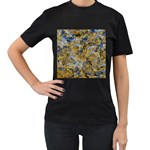 Antique Anciently Gold Blue Vintage Design Women s T-Shirt (Black) (Two Sided) Front