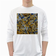 Antique Anciently Gold Blue Vintage Design White Long Sleeve T Shirts