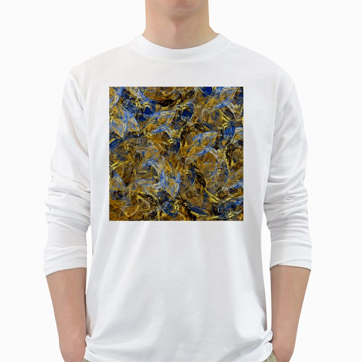 Antique Anciently Gold Blue Vintage Design White Long Sleeve T-Shirts