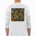 Antique Anciently Gold Blue Vintage Design White Long Sleeve T-Shirts Back