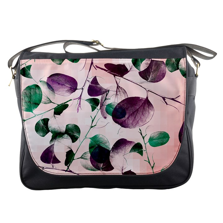 Spiral Eucalyptus Leaves Messenger Bags