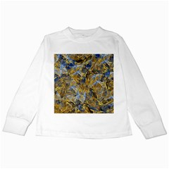 Antique Anciently Gold Blue Vintage Design Kids Long Sleeve T-Shirts