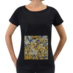 Antique Anciently Gold Blue Vintage Design Women s Loose-Fit T-Shirt (Black) Front