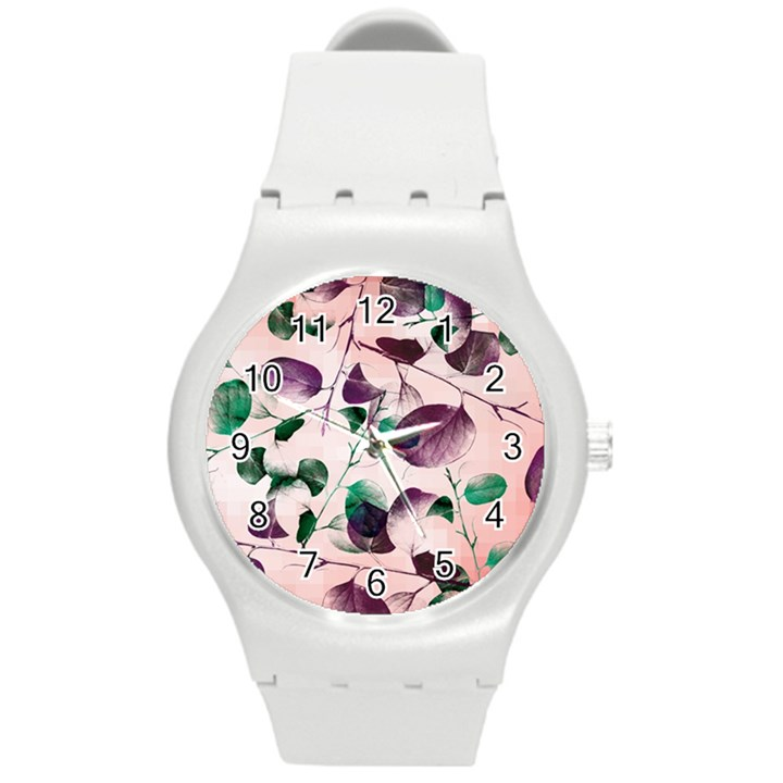 Spiral Eucalyptus Leaves Round Plastic Sport Watch (M)