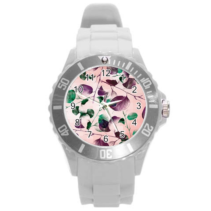 Spiral Eucalyptus Leaves Round Plastic Sport Watch (L)