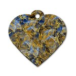 Antique Anciently Gold Blue Vintage Design Dog Tag Heart (Two Sides) Front