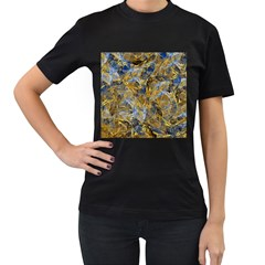 Antique Anciently Gold Blue Vintage Design Women s T Shirt (black)