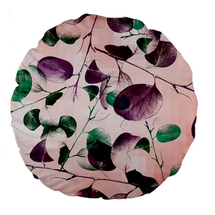 Spiral Eucalyptus Leaves Large 18  Premium Round Cushions