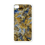 Antique Anciently Gold Blue Vintage Design Apple iPhone 4 Case (White) Front